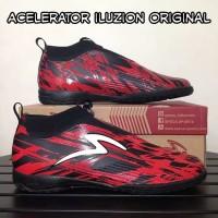 sepatu futsal specs acelerator iluzion red black ic original