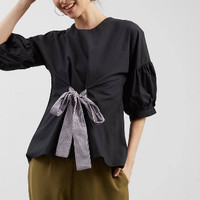ZAHRA SIGANTURE - Cotton Blouse Baloon Sleeve W/ Stripe Ribbon - Hitam