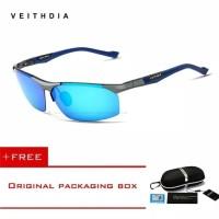 Original VEITHDIA 6589 Kacamata Pria Polarized Anti UV Sungglass - Hitam