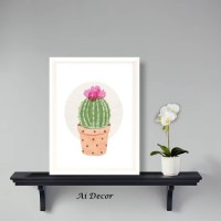 Dekorasi Poster Pigura Cactus - Hiasan Dinding Ruang Tamu