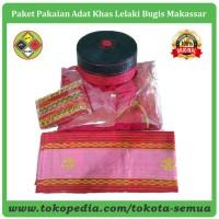 Pakaian Adat Lelaki Khas Bugis Makassar Warna Merah Satu Paket