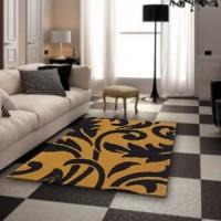Karpet Handtuft Deandra Yellow Bahan Wol Asli Mewah 145x100 cm