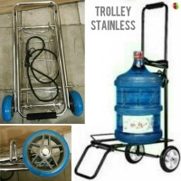 Troli GALON Trolley Stainless bawa Koper Tas Tabung Gas Benda Berat dL