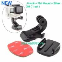 J-Hook + Flat Mount GoPro Xiaomi Yi Sjcam Brica Aksesoris Action Cam