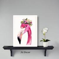 Dekorasi Tropical Poster Flamingo - Frame Hiasan Ruang Tamu