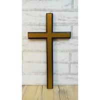 Salib Dinding Kayu Jati 40 cm x 22 cm List Kuning glitter Keren
