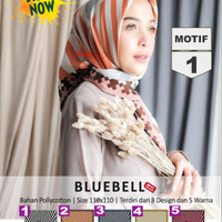 Jilbab Segiempat Bluebell New Serries Polycotton Motif 1 By Azzura