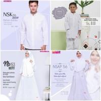 Baju Muslim Sarimbit Keluarga Nibras Family 56 Putih Setelan Couple