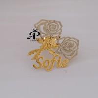 Jual Bros Nama Lapis emas motif dua warna syantik dan ellegant