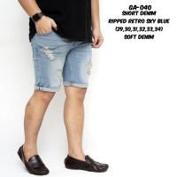 Celana Pendek Jeans Pria Biru Retro Ripped Sobek / Celana Cowok
