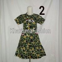 dress anak perempuan motif loreng/army baru2 dgn bordir fila termurah