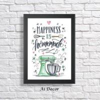 Dekorasi dapur - Happiness is Homemade - Poster Hiasan Dinding