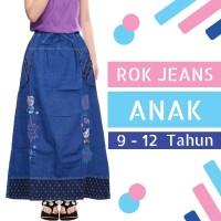 Rok Jeans Anak Panjang Usia 9-12tahun Motif Bordir Hello Kitty