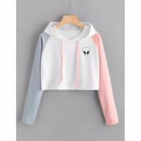 DaveFashion - Sweater Hodie Crop Alien Kombinasi ABU PINK