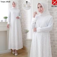 Baju Gamis Wanita Putih / Muslim Terbaru / Gamis Muslim #80780 STD