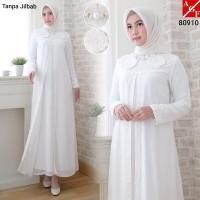Baju Gamis Wanita Putih / Muslim Terbaru / Gamis Lebaran #80910 STD