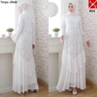 Baju Gamis Wanita Putih / Muslim Terbaru / Gamis Lebaran #804 STD