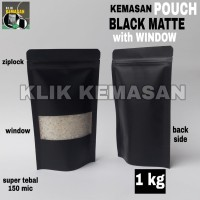KEMASAN STANDING POUCH BLACK DOFF WINDOW MINI 1000GR