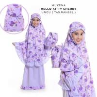 Mukena Anak Katun Hello Kitty Cherry Ungu ( Tas Ransel )