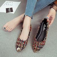 superlifetime Wanita Flat Slip Toe Emas pada Sepatu Flat Logam
