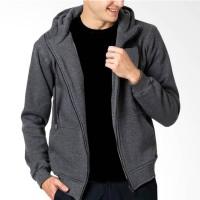 VM Sweater Zipper Hoodie Jaket Polos Pria - Abu Tua