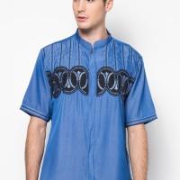 Baju Koko Pria Lengan Pendek Bordir Premium TN 914 Biru Muda