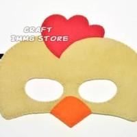 Topeng Flanel kostum hewan ayam coklat rooster brown pesta ulang tahun