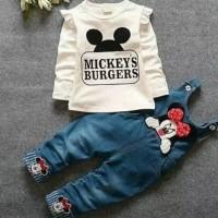 Setelan Anak Mickeys Burger White Overall Jeans