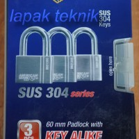 American Secure Gembok Anti Potong 60mm Pendek (3 Pcs)
