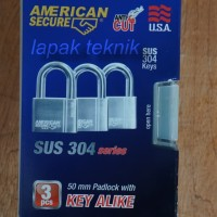 American Secure Gembok Anti Potong 50mm Pendek (3 Pcs)