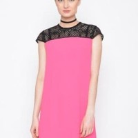 Dress Agatha Black Lace Shocking Pink/Dress Natal/dress imlek