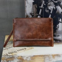 Clutch Handbag Tas Pria KULIT Brown Cokelat HTI0838