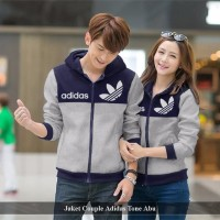jaket couple adidas tone | jaket tebal | jaket pasangan | jaket polos