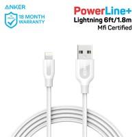 Kabel Charger Anker PowerLine+ Lightning 6ft/1.8m White- A8122