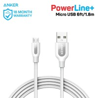Kabel Charger Anker PowerLine+ Micro USB 6ft/1.8m White - A8143