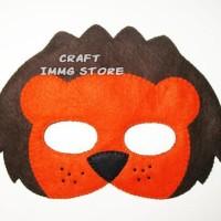 Topeng hewan singa lion Flanel kostum Coklat Oranye pesta ulang tahun