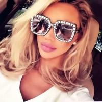 kacamata Wanita Model Kotak Oversize Motif Berlian Mewah
