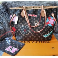 Tas Louis Vuitton Neverfull Monogram Patches Story Set Pouch Myb