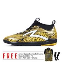 Sepatu Futsal SPECS Barricada ULTRA IN Gold/Black Limited ASLI