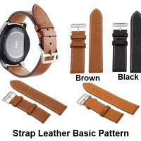 Samsung Gear S2 Classic 20MM 20 MM Tali Jam Strap Kulit Basic Leather - Black