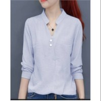 Baju Atasan Kemeja Blouse Wanita Sanghai Button