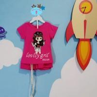 Baju setelan anak perempuan import motif barbie bermute