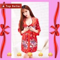 d1976 Kimono Sexy Bahan Ice Silk Size S M L Motif Bunga Plus Lingerie