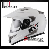 Helm KYT Enduro Supermoto White Solid Full Face Cross