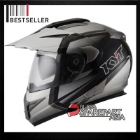 Helm KYT Enduro Supermoto White Black Full Face Cross Motif #1
