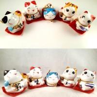 5Pcs Pajangan Kucing Hoki Maneki Neko Lucky Cat Dekorasi Patung MI034
