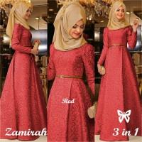Dress Zamirah Muslim Gamis Syari Lengan Panjang Murah Wanita 5 WARNA
