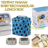 MAK99 TEMPAT MAKAN STAINLESS STEEL GIG BABY RECTANGULAR LUNCH BOX