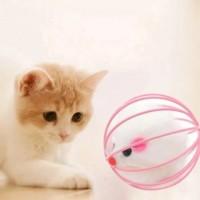 Bola jeruji tikus lucu mainan kucing anjing warna warni rattle toys