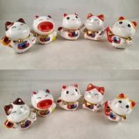 5Pcs Pajangan Kucing Hoki Maneki Neko Lucky Cat Dekorasi Patung MI036